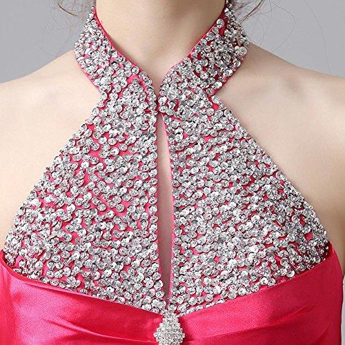 Kleid Gold Pailletten Halter rückenfreies Emily Satinrhinestone Beauty Abend ag07YxA