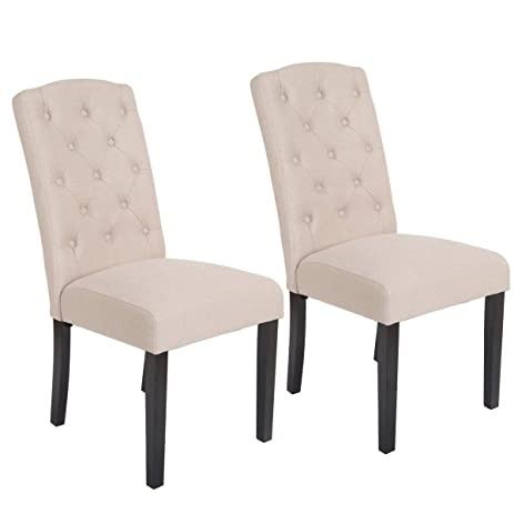 Amazoncom Giantex Set of 2 Fabric Wood Accent Dining Chair