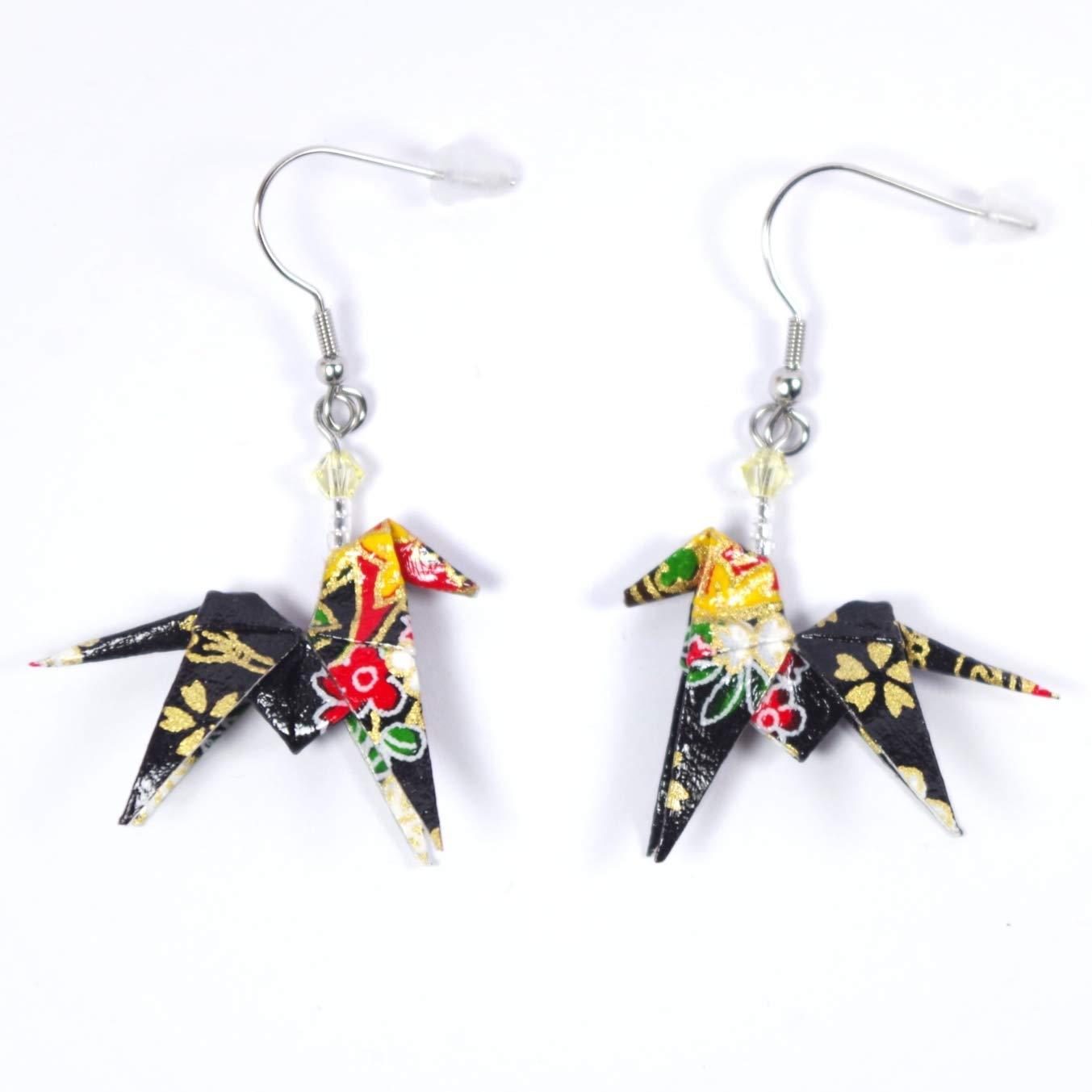 Boucles doreilles cheval origami noir et multicolore