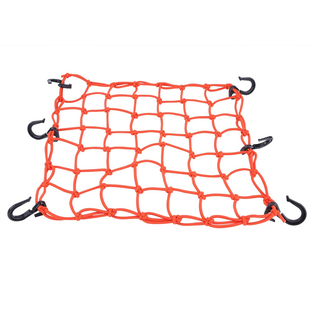 Qiilu 40 * 40cm Motorcycle Fuel Tank Helmet Cargo Luggage Elastic Mesh Net Bag Universal Orange(Orange)