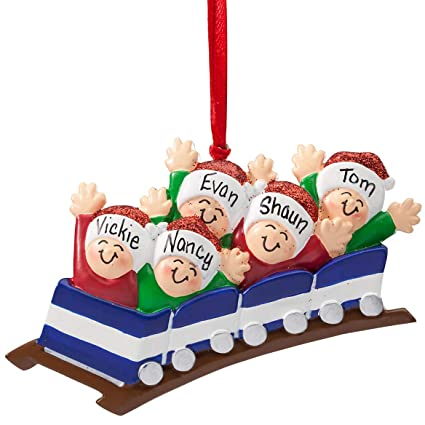 Personalized Family Roller Coaster Ornament, Family of 5 - Amazon.com: Personalized Family Roller Coaster Ornament, Family Of 5