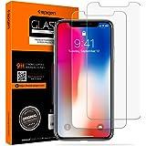 Solo Spigen, Vetro temperato iPhone X, Non comprare Fake Chinese Seller, 2Pezzi, Face ID Compatible, Bubble FREE, Pellicola Protettiva iPhone X (057GL22565)