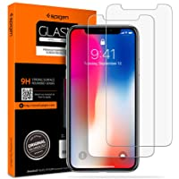 Spigen Tempered Glass iPhone Xs/X Screen Protector [ Notch Cutout ] [ Case Friendly ] 9H Hardness for Apple iPhone Xs (2018) / X (2017) (2 Pack)