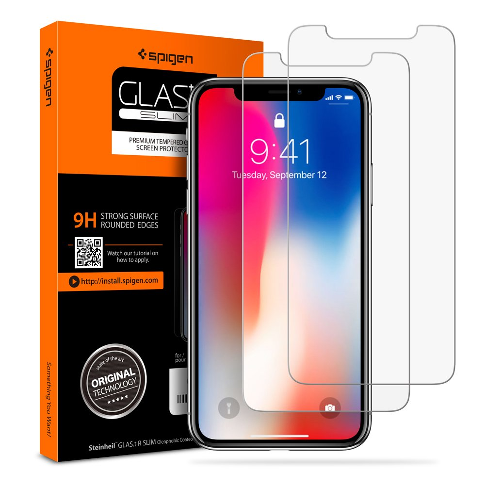 iphone x panzerglas 2 st ck spigen face id kompatibel. Black Bedroom Furniture Sets. Home Design Ideas