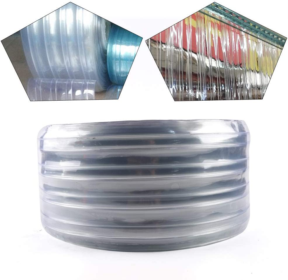 PVC Strip Plastic Curtain 164ft x 7.8in Warehouse Elegant 0.06in Eco-frinedly 164 Feet X 7.08 Inches 1 Roll Ribbed Door Curtain Clear Anti Scratch Curtain Strip for Freezer Doors USA STOCK