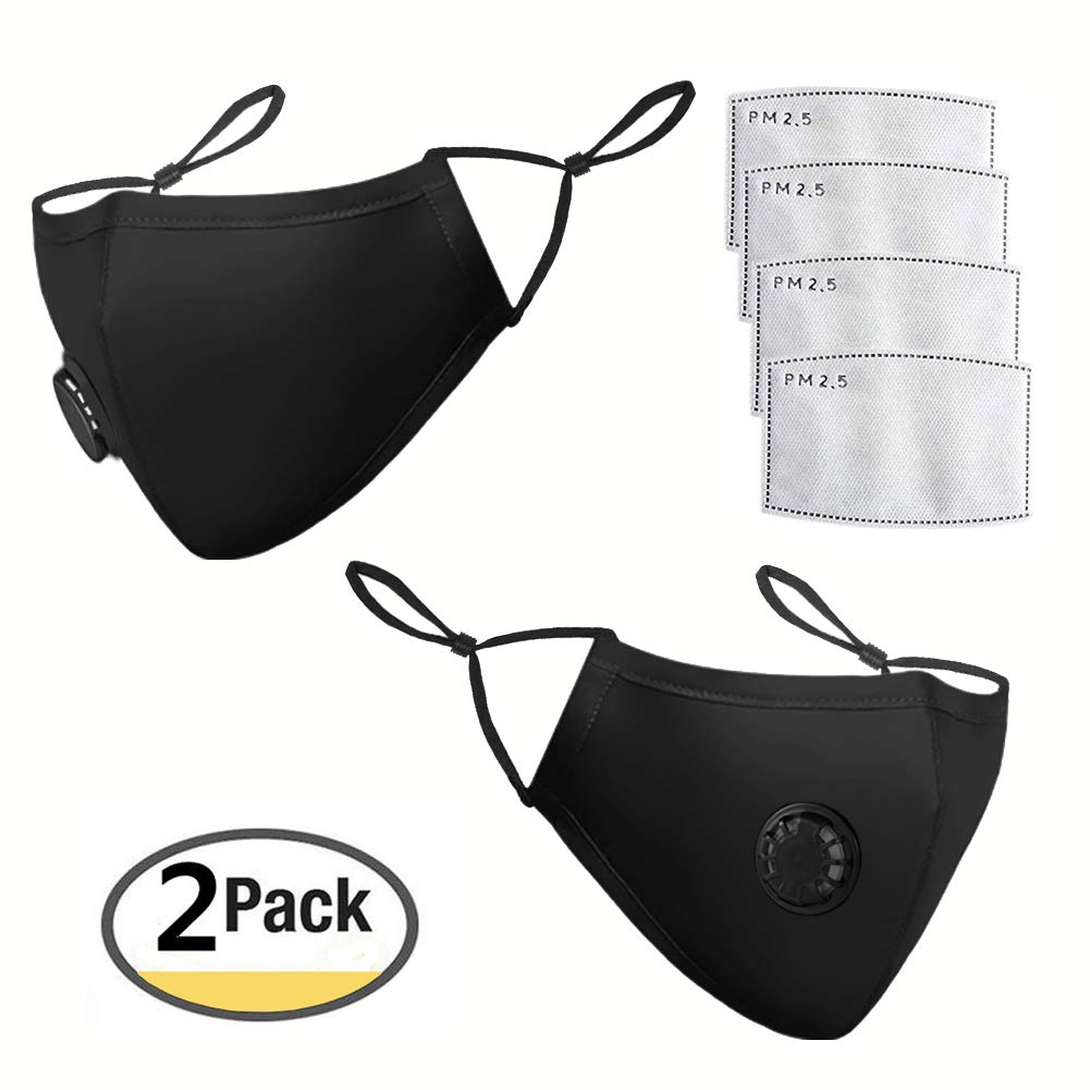 N95 N99 PM2.5 Air Pollution Mask Filter Washable Anti-Pollution Dust Mask With Filter Masks Respirator For Allergies Flu Pollen Smoke Protection by Velvet Material (pack 2 mask)