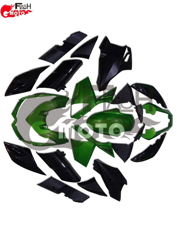 FlashMoto kawasaki 川崎 カワサキ Z1000 2010 2011 2012 2013用フェアリング 塗装済 オートバイ用射出成型ABS樹脂ボディワークのフェアリングキットセット (グリーン,ブラック)   B07L89RKW1