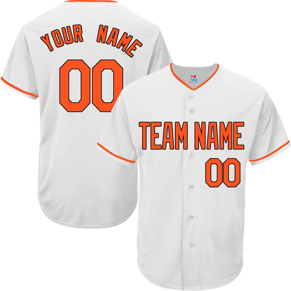 Pullonsy White Customized Baseball Jersey for Youth Full Button Embroidery Name,Orange-Black Size M by Pullonsy