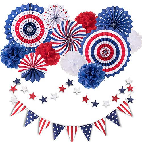 Whaline 14Pcs 4th of July Patriotic Party Decorations Set, Independence Day Party Hanging Paper Fans, Paper Flower Balls, Star Streamers, USA Flag Pennant Bunting Party Favors for American Theme Party