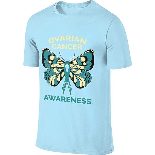 ecec3cdd Image Unavailable. Image not available for. Color: SKYAKLJA Ovarian Cancer  Awareness Sky Blue Short Sleeve Men's Cotton T-Shirt