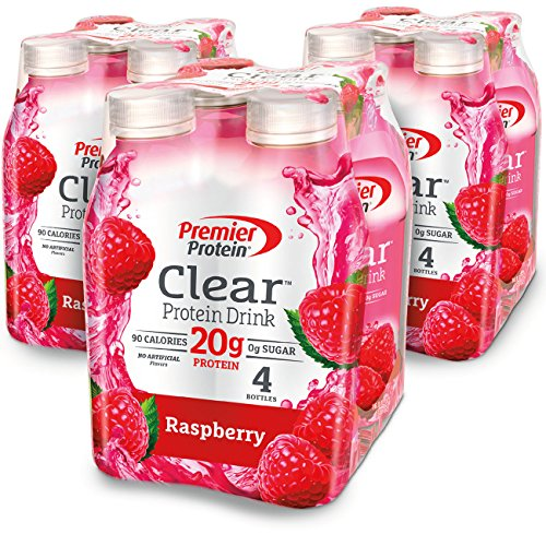 Premier Protein Clear Protein Drink, Raspberry, 16.9 fl oz Bottle, (12 -