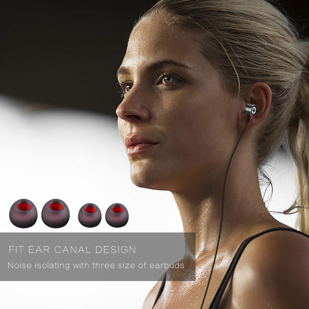 Egao Écouteurs Oreillettes Intra-Auriculaires Filaires Casque avec Fonction d\'Adsorption Magnétique,Microphone Audio Stéréo et Télécommande,Basse Lourde et Anti-Bruit pour iPhone et Android