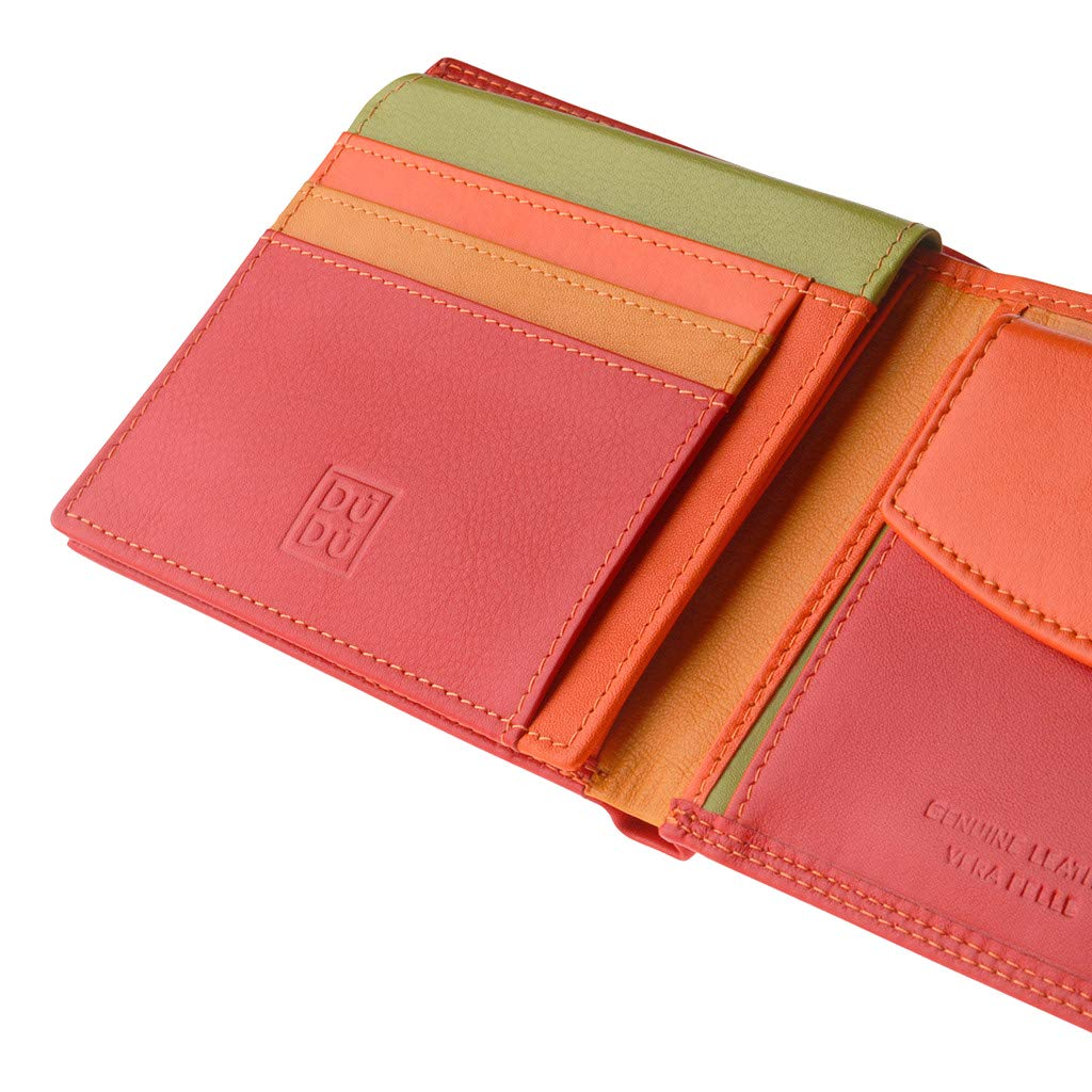 Mans wallet multicolour soft leather classic with coin purse DUDU Red Colorful Collection ~ Tazio