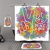 peace door beads - Uhoo Bathroom Suits & Shower Curtains Floor Mats And Bath Towels70s Party Decorations Hippie Peace and Love Symbol and Signs Two Fingers Antiwar Colorful MulticolorFor Bathroom