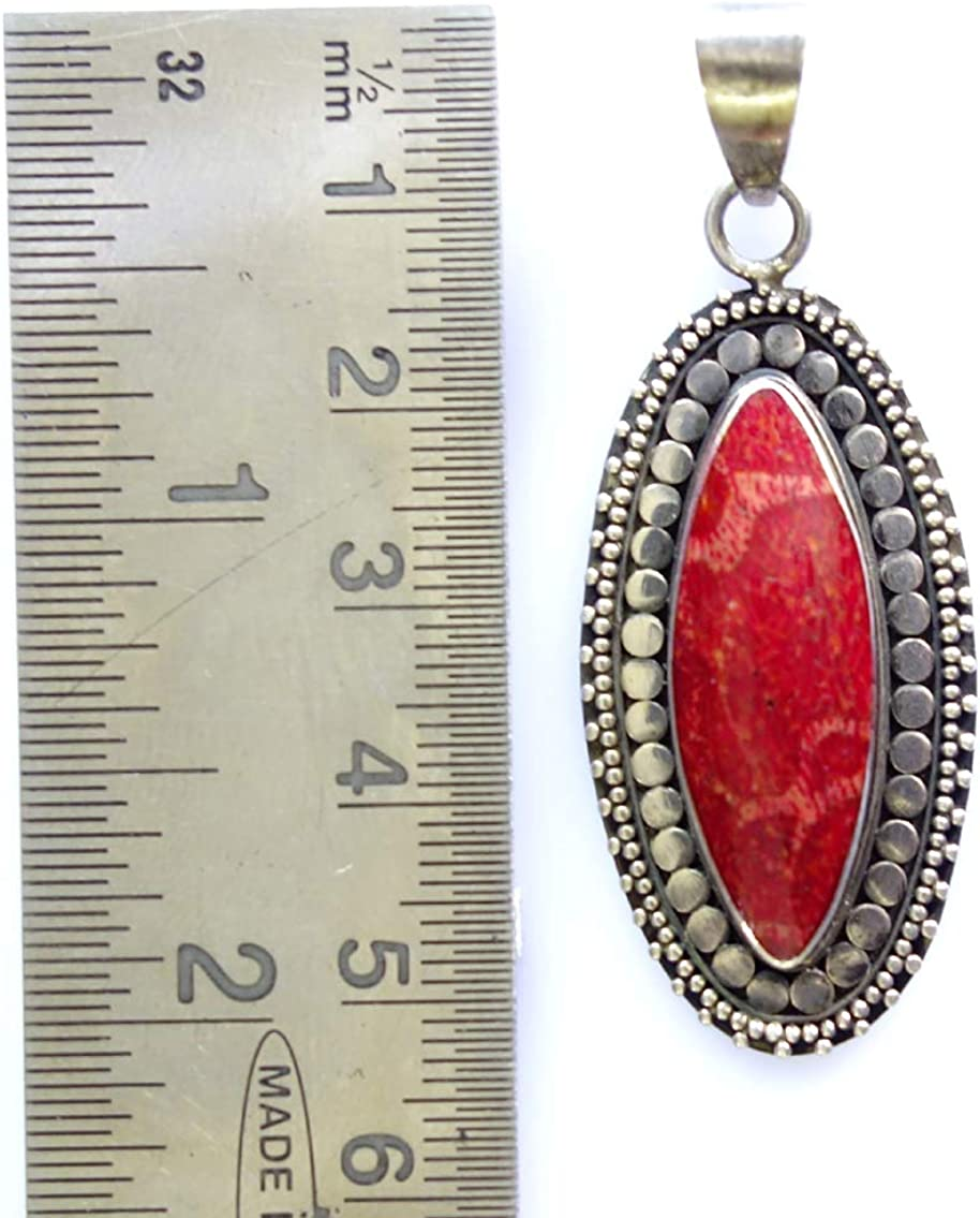 Handmade 925 Sterling Silver RED Coral Gemstone Authentic Balinese Filigree Fashion Designer Pendant Unique Ethnic Tribal Gypsy Amulet Pendant Jewelry for Women /& Girls Libra Birthstone