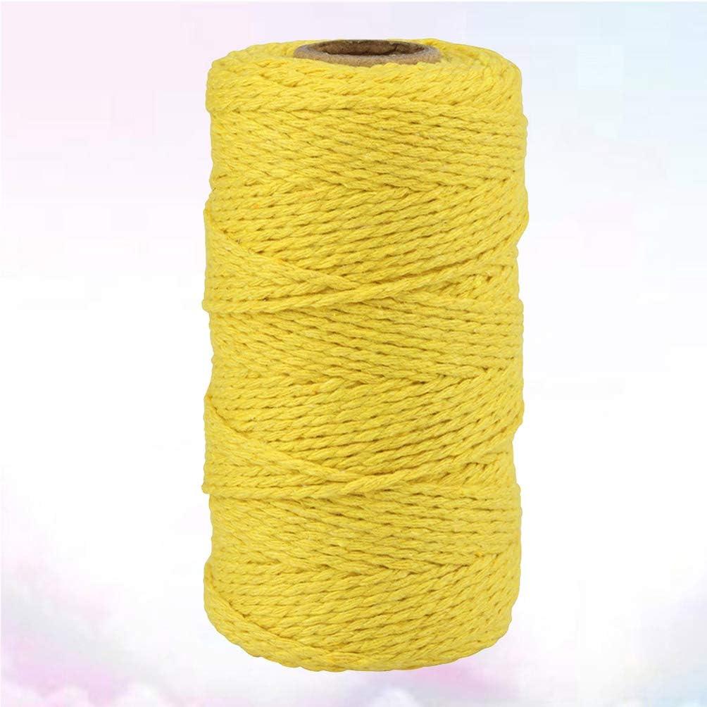 Healifty 2mm Macrame Rope Natural Cotton Macrame Cord for Wall Hanging Plant Hanger DIY Craft Making Knitting