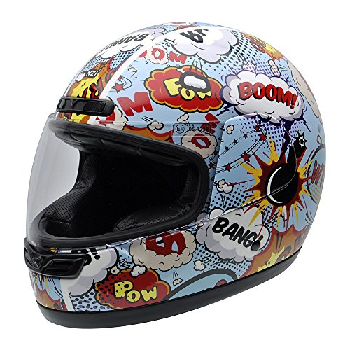 NZI 050290G710 Class Jr Graphics Boom Casco de Moto, Explosiones de Comic, Talla 55-56 (S): Amazon.es: Coche y moto