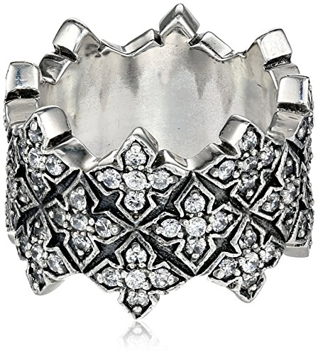 "King Baby ""Cross"" Triple Stacked Cubic-Zirconia Cross Ring,"