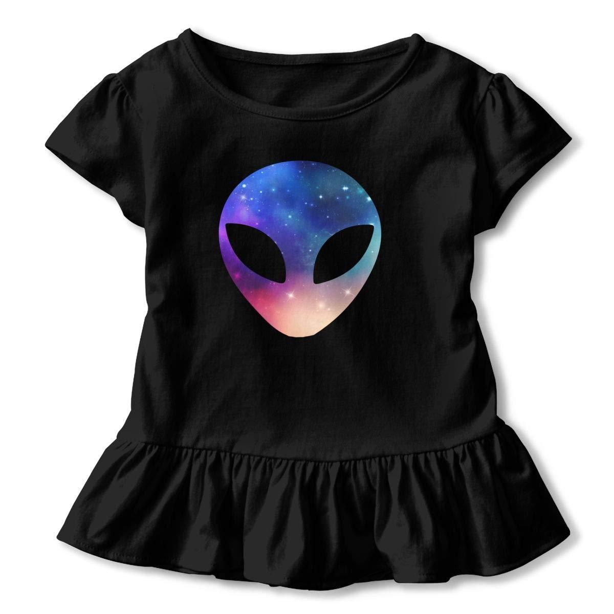 CZnuen Space Alien Head Colorful 2-6T Baby Girls Cotton Jersey Short Sleeve Ruffle Tee