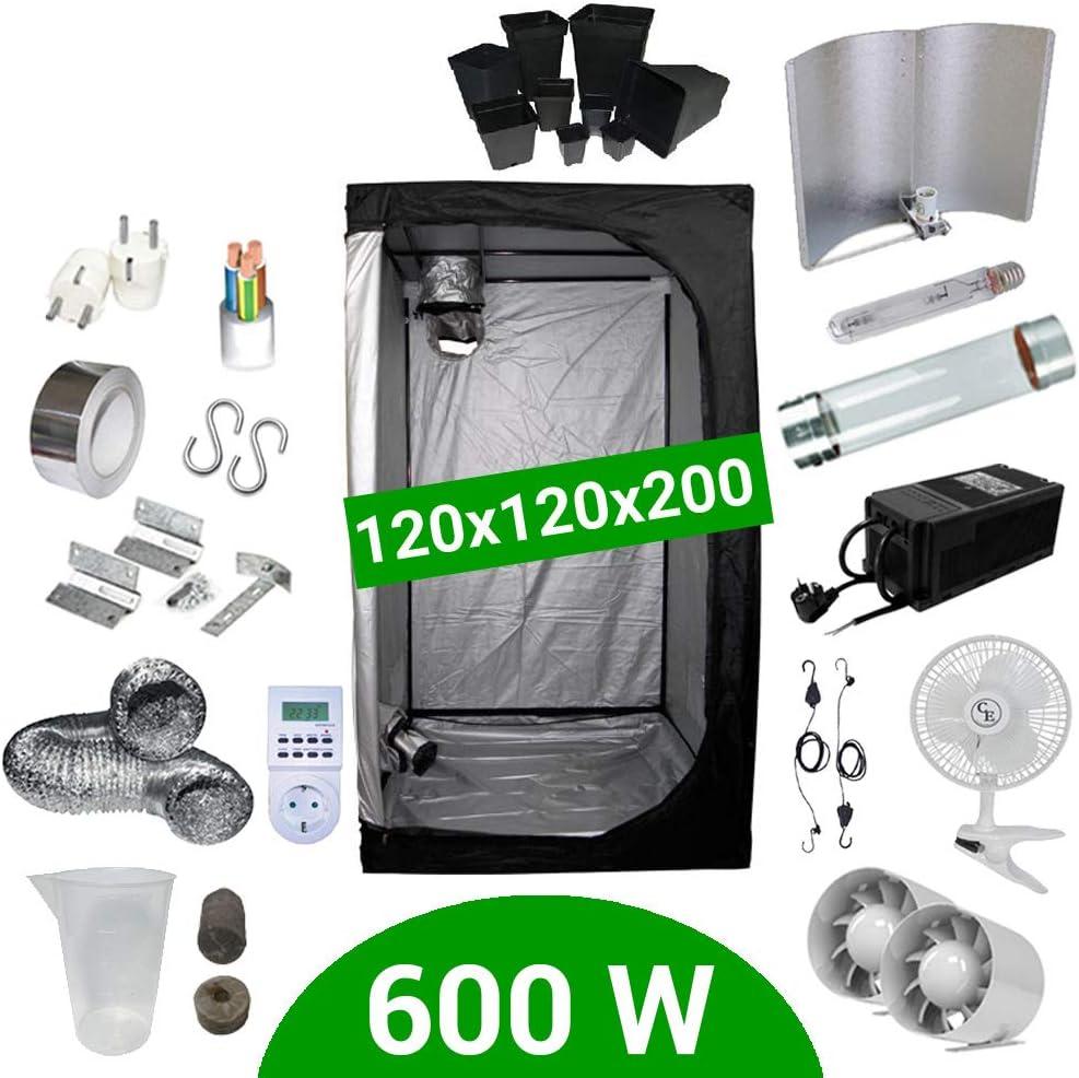 Kit de cultivo interior 600W SHP Cooltube - Armario 120x120x200 - Balastro ETI 2