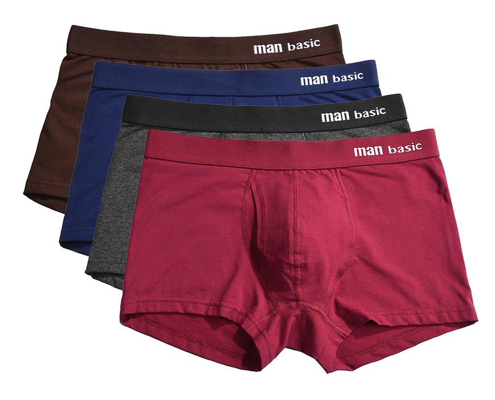 YVWTUC Men's Cotton Underwear Boxer Briefs Man Basic 4-Pack Comfort
