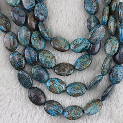- 13x18mm Natural Blue Crazy Lace Agate Beads Oval Loose Gemstone Beads for Jewelry Making Strand 15 Inch (22pcs)
