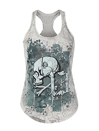 a7115a85de5867 Beautife Women s Skull Print Lace Shirt Patchwork Sleeveless Tank Tops Plus  Size (Small