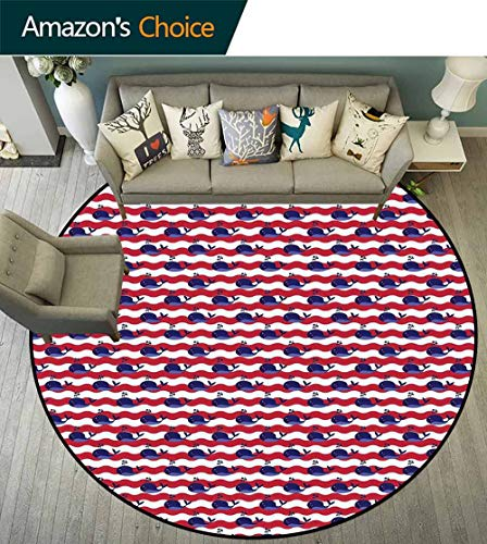 Whale Round Rug for Bathroom,Abstract Nautical Waves with Blue Fishes Aquatic Life Baby Pattern for Office,Navy Blue Dark Coral White,D-75 ()