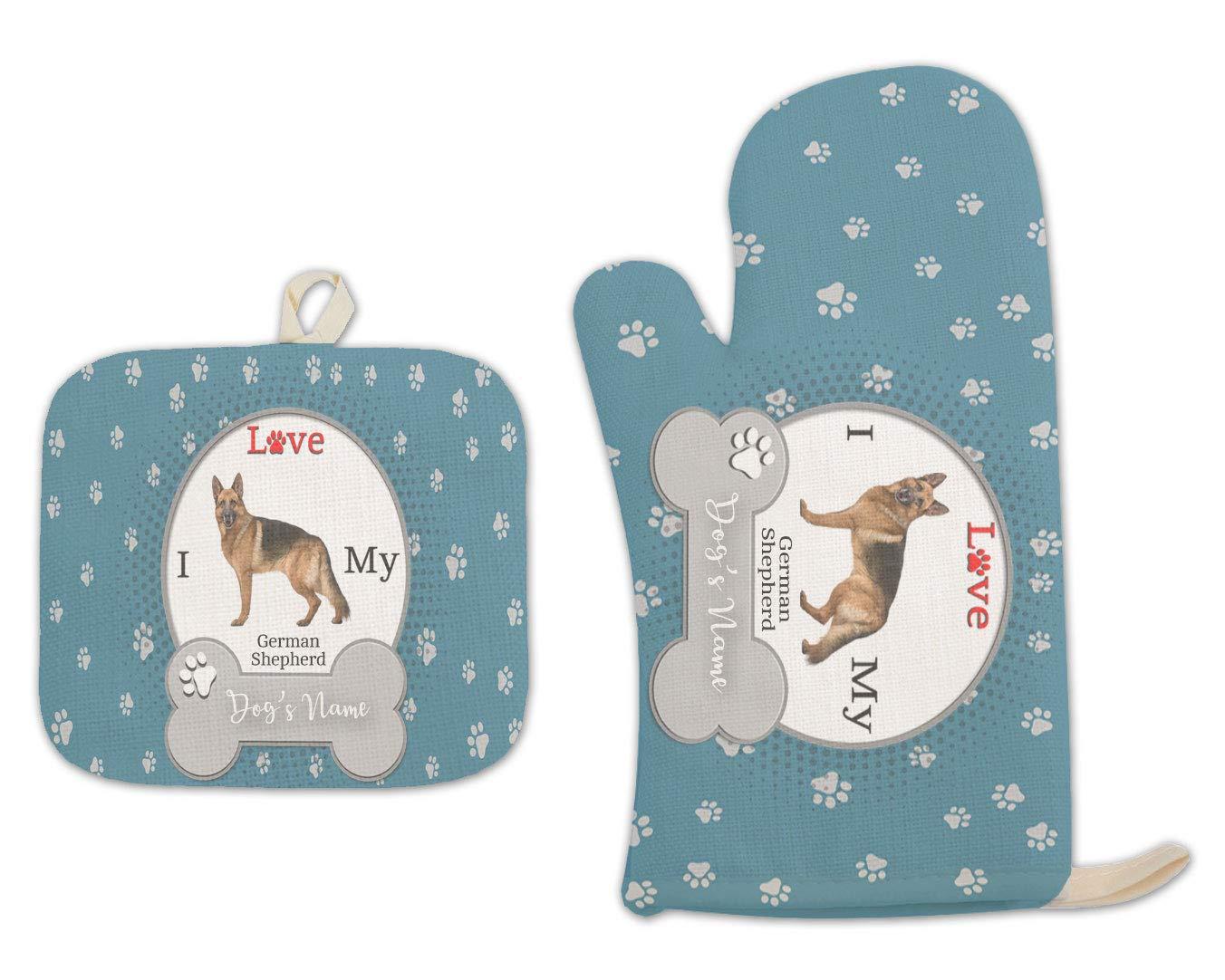 Bleu Reign BRGiftShop Personalized Custom Name I Love My Dog German Shepherd Linen Oven Mitt and Potholder Set