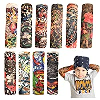 Temporary Tattoo Sleeve for Kids - 10PCS Arts Fake Slip on Arm Sunscreen Sleeves,UV Sun Protection Cooling Arm Sleeves for Kid Child Baby - Gtlzlz