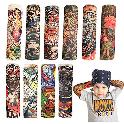 Temporary Tattoo Sleeve for Kids - 10PCS Arts Fake Slip on Arm Sunscreen Sleeves,UV Sun Protection Cooling Arm Sleeves for Kid Child Baby - Gtlzlz ()