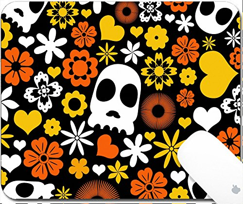 Luxlady Gaming Mousepad 9.25in X 7.25in IMAGE: 31100356 skull and flora pattern background Holloween concept (Skull Nose Logo)
