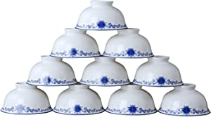 4.5inch Chinese Ceramic Rice Bowls 10 oz for Cereal Soup Salad Pasta set of 10 White and Blue Porcelain Fine Bone China Jingdezhen