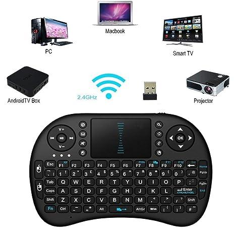 Mini inalámbrico teclados, Kodi XBMC inalámbrico de 2,4 G Mini Teclado Touchpad Ratón Combo Multimedia portátil Handheld Android Teclado para ...