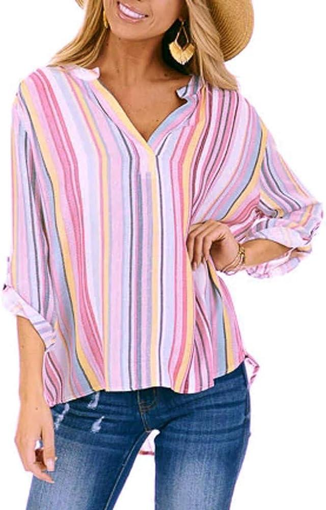 COZOCO Camisa Casual con Cuello En V para Mujer Camisa Larga Delantera Corta A Rayas Chaqueta Fina Superior: Amazon.es: Ropa y accesorios