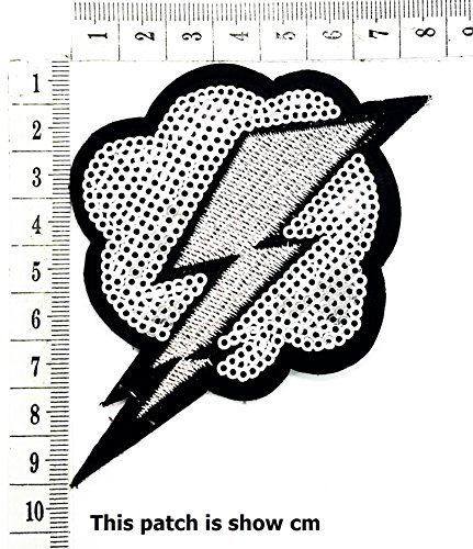 Stormy Weather Thunder Cloud with Lightning Bolt Cartoon Chidren Kids Embroidren Iron Patch/Logo Sew On Patch Clothes Bag T-Shirt Jeans Biker Badge Applique