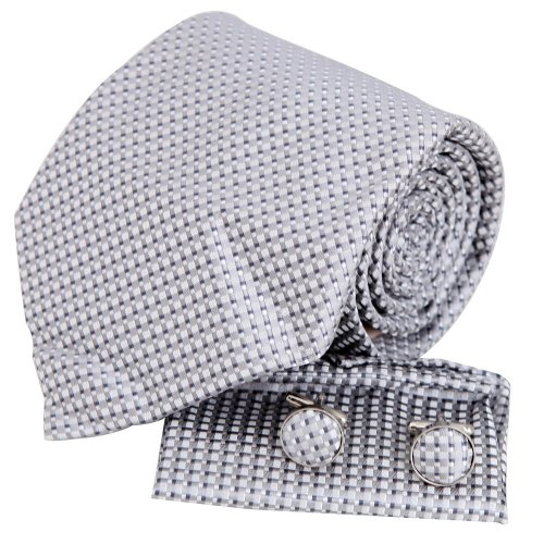 Silk Discount - Silver checkers tie for men white wedding tie discount silk neck ties cufflinks set H5130  Silver