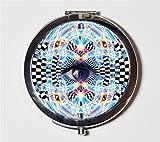 Trippy Psychedelic Third Eye Compact Mirror Burning Man EDM LSD Acid DMT Festival Accessory Pocket Mirror for Cosmetics