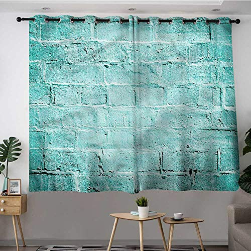 - Fbdace Mint Thermal Insulated Blackout Curtains Brick Old Wall Vibrant Energy Efficient, Room Darkening W 72