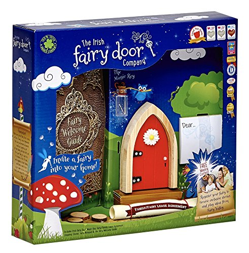 The Irish Fairy Door Company - Red Arched Door - Includes Magic Key in a Bottle, 3 Stepping Stones, Fairy Lease Agreement, Notepad, and Fairy Welcome Guide