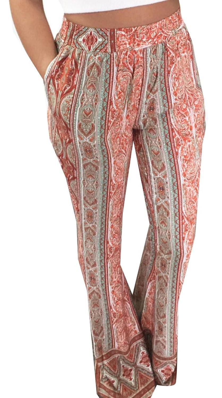 9f56ede6b9a92 Earnest Womens Loose Printed High Waist Wide Leg Pants on sale ...