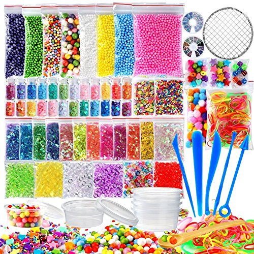 (72 Pack Slime Supplies Kit Include Foam Balls, Fishbowl Beads, Net, Glitter Jars, Pearls, Sugar Paper, Storage Containers, Slime Tools Slime Beads Charms for DIY Slime Making Art Craft Party Decor)