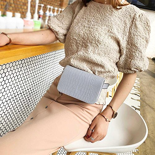 Widewing Shoulder Fanny Leather Belt Waist PU Handbag Casual Flap Grey Women Packs Purse ZUzwnrxZS