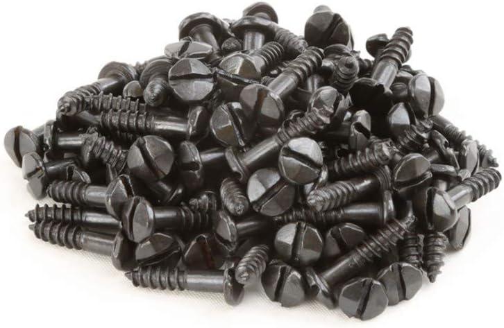 #6 5//8 Slotted Wood Screws Pyramid Head Fasteners Black Steel Set of 100