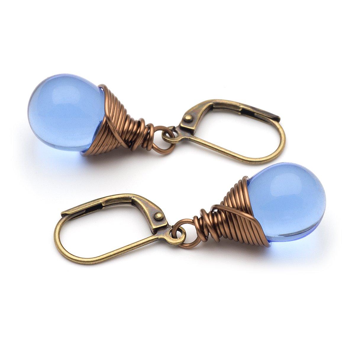 Blue Czech glass wire-wrapped drop bronze lever-back earrings