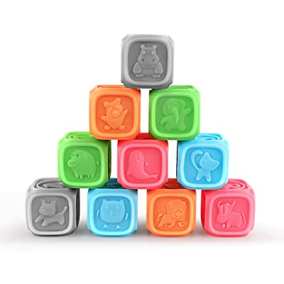 Decdeal Baby Soft Block Teething Chewing Squeeze Stackable Bathing Toys with Numbers, Animals and Shapes for Matching Games Training Early Education for Kids: Home & Kitchen