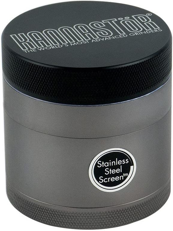 2.2 Inch, Clear Jar Choose Size /& Style Kannastor Gunmetal Series 4 Part Herb Grinder with Removable Screen