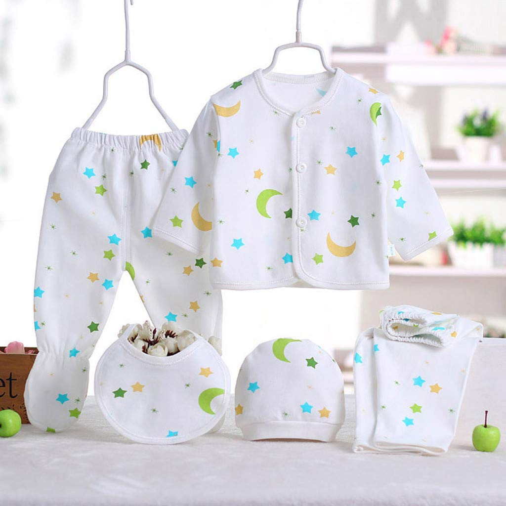 Sikye 5Pcs Newborn Baby Gift Outfit Set Newborn Girl Boy Cartoon Lovely Button Top 2PC Pants 0-3 Months Bib Hat