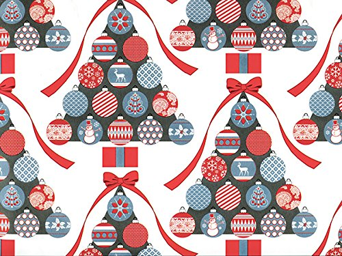 Ornaments & Trees Christmas Gift Wrap Paper - 16 Foot Roll