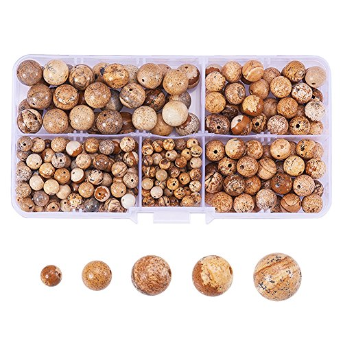PH PandaHall 316 Pcs Tumbled Picture Jasper Sandstone Brown Gemstone Round Beads 4mm 6mm 8mm 10mm Mix Lot Box Set with Box Container -